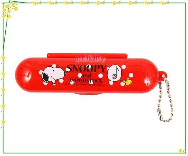 印章【asdfkitty可愛家】SNOOPY史努比印章盒-紅色-有印泥歐-日本製