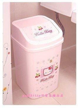 家用【asdfkitty可愛家】KITTY有蓋方形垃圾桶-亮草莓-韓國製
