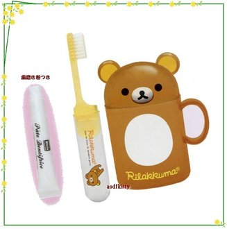 asdfkitty可愛家☆san-x懶懶熊/拉拉熊兒童牙刷牙膏漱口杯隨身組-日本製