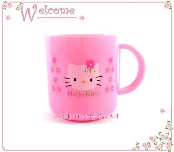 asdfkitty可愛家☆KITTY雛菊系列塑膠馬克杯/水杯/漱口杯-2000年絕版商品-日本製