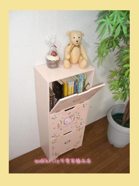 家用【asdfkitty】賠錢出清特價 KITTY粉紅色草莓版書櫃-CD櫃-置物櫃-2001年絕版商品-日本正版