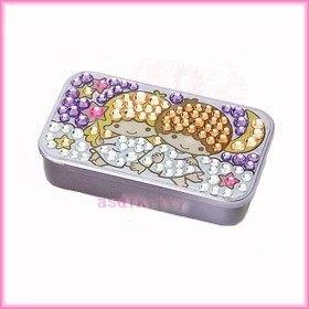 家用【asdfkitty】雙子星夜晚方形亮鑽滑蓋式收納盒/置物盒/隨身藥盒-日本版正版