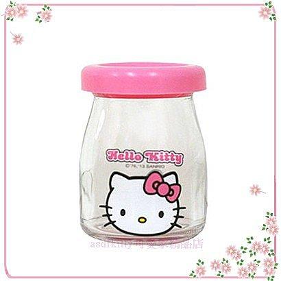 asdfkitty可愛家☆KITTY粉蓋大臉版保羅瓶/玻璃罐/牛奶瓶100ML-韓國製