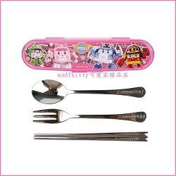 廚房【asdfkitty】POLI救援小英雄波力粉色餐具組-不鏽鋼湯匙筷子叉子附餐具盒-韓國製