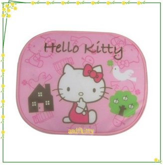 汽車用品【asdfkitty可愛家】KITTY粉房屋側窗遮陽板2入-香港版正版商品