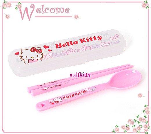 廚房【asdfkitty可愛家】KITTY亮蝴蝶結透明外出盒+湯匙+筷子-輕量好攜帶-韓國製