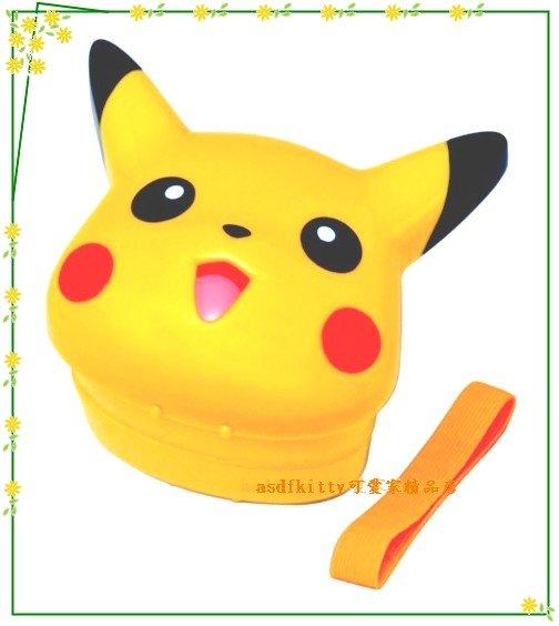 廚房【asdfkitty可愛家】皮卡丘黃色造型便當盒-保鮮盒-水果盒-點心盒-附綁帶~可微波