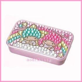 家用【asdfkitty】雙子星彩虹方形亮鑽滑蓋式收納盒/置物盒/隨身藥盒-日本版正版