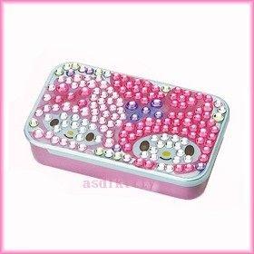 家用【asdfkitty】美樂蒂+小綿羊方形亮鑽滑蓋式收納盒/置物盒/隨身藥盒-日本版正版