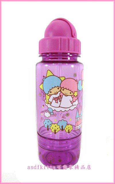 廚房【asdfkitty】雙子星城堡吸管水壺350ML-防漏水瓶蓋-不含雙酚A-安全歐-香港正版