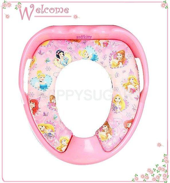 嬰童用品【asdfkitty】迪士尼公主粉色有扶把手兒童馬桶座/馬桶墊-輔助便器-防噴尿-韓國製
