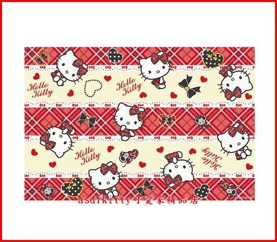 家用【asdfkitty可愛家】KITTY紅格紋野餐墊-90*60公分-日本版正版商品