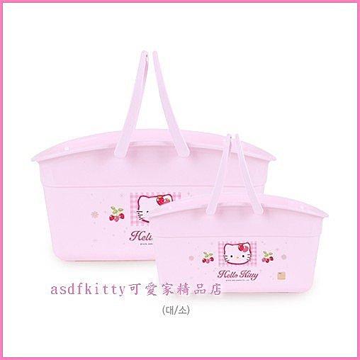 衛浴用品~asdfkitty可愛家~ KITTY手提收納置物籃~小的~亮草莓版~韓國製~這