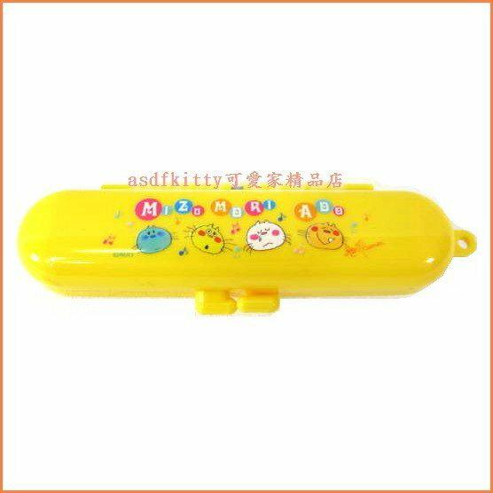 asdfkitty可愛家☆小貓咪黃色印章盒-有印泥歐-日本正版商品全新