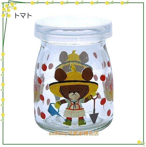 asdfkitty可愛家☆小熊學校農夫版保羅瓶/玻璃罐/牛奶瓶100ML-日本製
