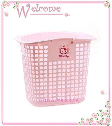 asdfkitty可愛家☆KITTY洗衣籃-L號-有滾輪-透氣孔-也可當玩具籃-亮草莓版-韓國製
