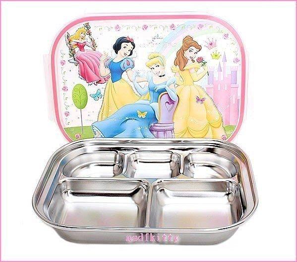 asdfkitty可愛家☆迪士尼公主樂扣型有蓋304不鏽鋼餐盤便當盒-盪鞦韆版-不含袋子-韓國製