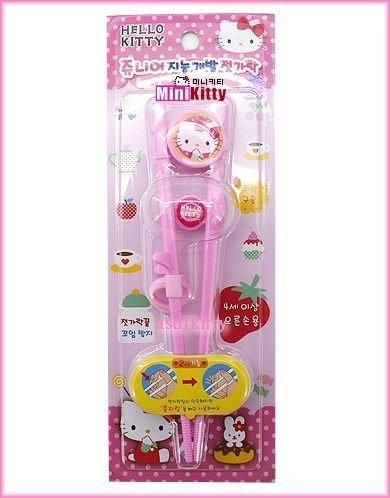 asdfkitty可愛家☆Kitty粉色第二階段右手用三點式兒童學習筷-韓國製正版商品