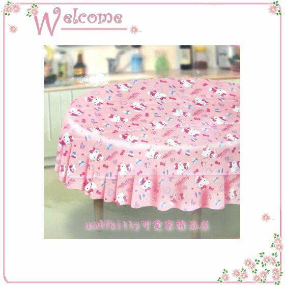 asdfkitty可愛家☆KITTY抱愛心版圓型桌巾-環保材質.無毒無污染 -香港版正版商品
