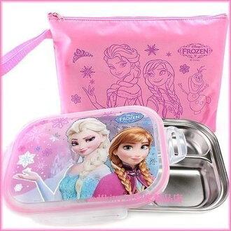 asdfkitty可愛家☆迪士尼冰雪奇緣公主樂扣型有蓋304不鏽鋼餐盤便當盒-附外出袋-韓國製