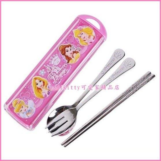asdfkitty可愛家☆迪士尼公主304不鏽鋼湯匙筷子叉子附餐具盒-韓國製