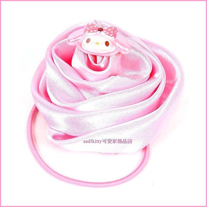 嬰童用品~asdfkitty可愛家~美樂蒂立體玫瑰花 髮束~大又顯眼~