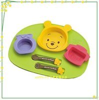 小熊維尼周邊商品推薦asdfkitty可愛家☆迪士尼 小熊維尼兒童餐盤餐具組-含托盤 湯匙跟叉子-6件組-日本製