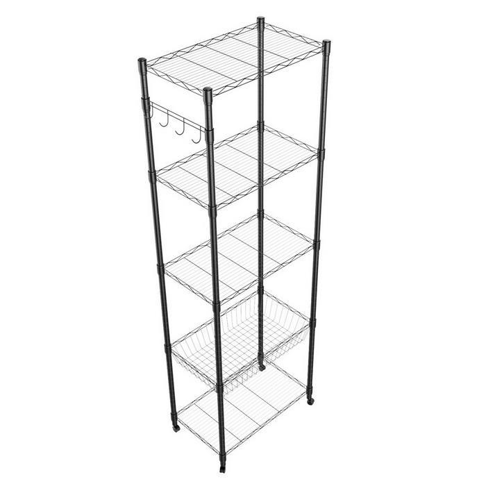 5-Tier Steel Shelving 71inch Height with Wheels 5