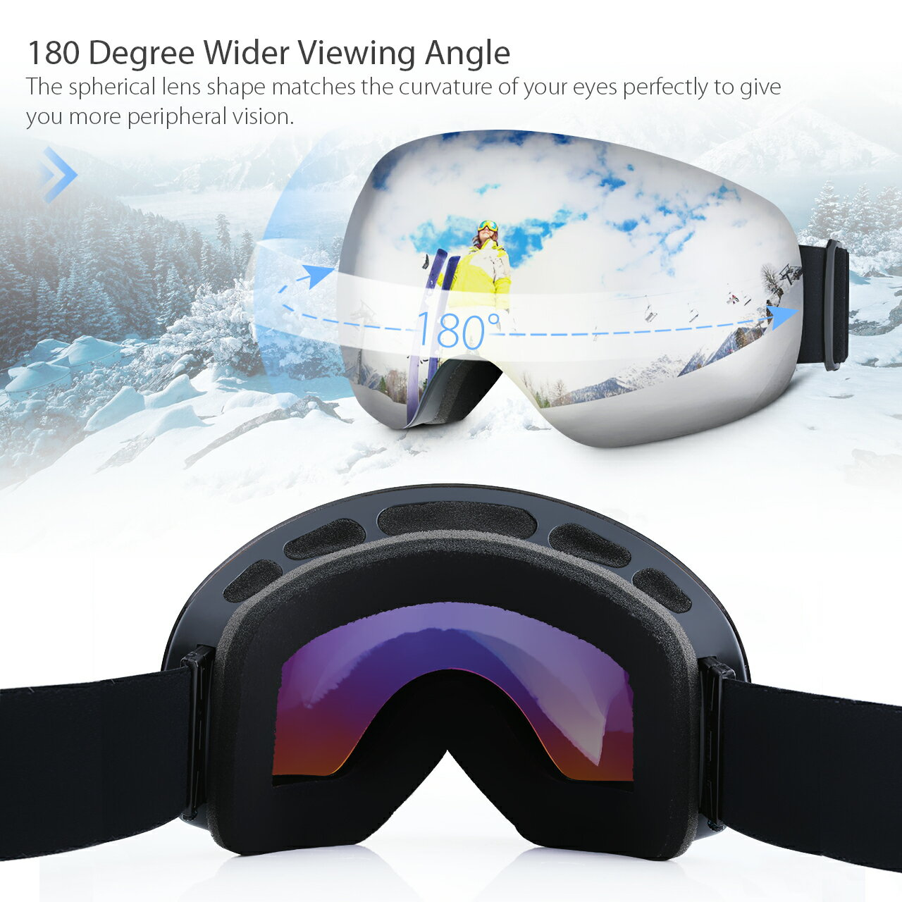 Adult Ski Snowboarding Goggles, Unisex Snow Goggles with Anti-fog and UV400 Protection Treatment, Super-wide Angle and Spherical Lens, for Men and Women 5