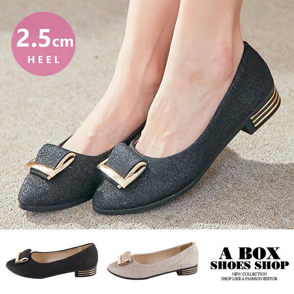 格子舖:【AS303】尖頭包鞋2.5CM粗低跟鞋娃娃鞋時尚奢華金蔥材質2色