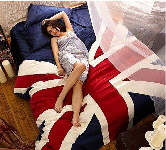 寰宇歐洲風 大不列顛日不落風格 英國國旗天鵝絨超保暖4件套(精選標準雙人床-床包款)