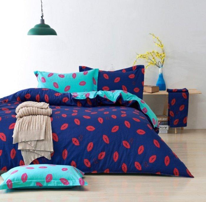 2015 新品特賣 四季皆宜 經典配色紅唇 100% 純棉床包4件組