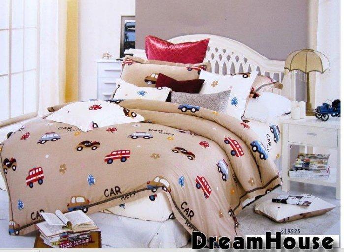 ~雙人床~ 100%純棉超可愛兒童汽車卡通圖案三件套床包組