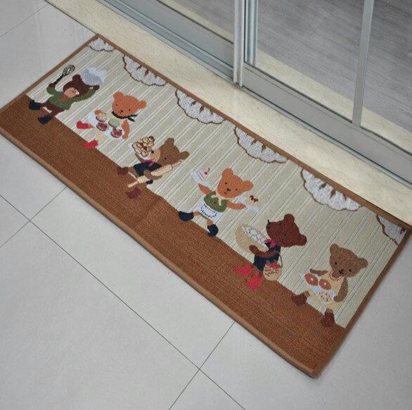 出口日本等級 45*180 CM 可愛小熊卡通地墊 吸水防滑地墊 廚房墊 門墊 玄關墊 地毯
