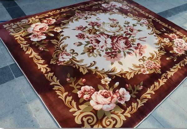 外銷日本等級 出口日本 最新款式 200*250 CM 奢華歐式風格 貴氣牡丹高級法萊絨尊貴地毯/ 客廳地毯/ 婚宴地毯