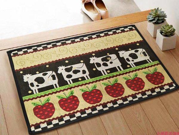 出口歐美等級 45*60 CM 可愛卡通乳牛草莓款 臥室廚房防滑地毯/ 地墊/ 門墊/ 腳踏墊/ 玄關墊/ 浴室踏墊