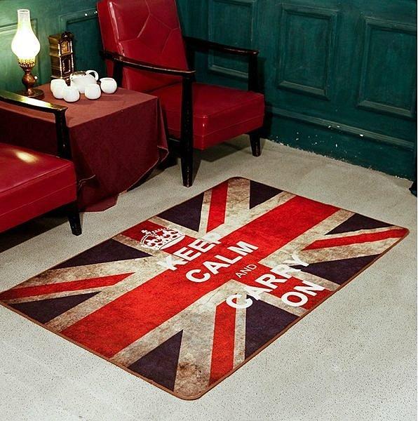 歐式復古風 懷舊英國國旗 40*60 CM 客廳地毯/ 地墊/ 浴室墊/ 玄關墊