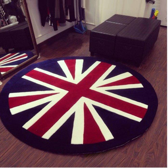 寰宇歐洲風 大不列顛日不落風格 超亮眼 個性特色 英國國旗 100 CM 圓形高級手工晴綸地毯/地墊 可訂做