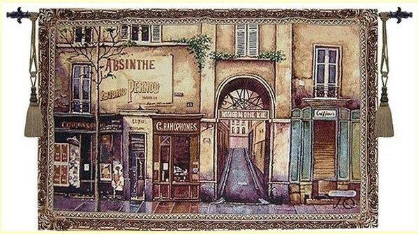 幸福家居商城:出口歐洲歐洲原單比利時風格壁畫掛毯午後街頭90*140CM壁畫掛毯壁毯
