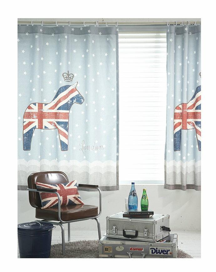 可愛英倫風 英國國旗皇冠藍色木馬145*180 CM 兒童房間窗簾