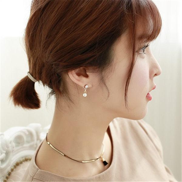 PS Mall 不對稱迷你流蘇小耳釘 甜美氣質珍珠鑲鑽耳環耳飾裝飾~G1947~