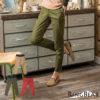☆眼圈熊☆P75百變的風格.褲頭側邊拉鏈配色造型長褲(紅、咖、綠S-6L)