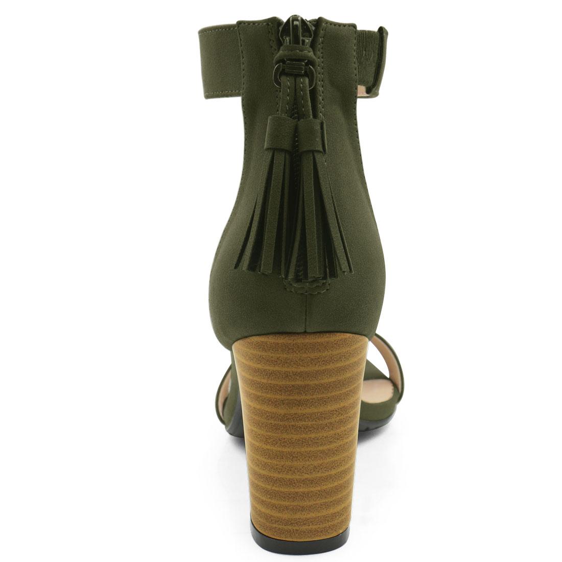 83897be40048 Unique Bargains Women s Open Toe Tassel Stacked Heel Ankle Strap Sandals  Khaki Green (Size 7