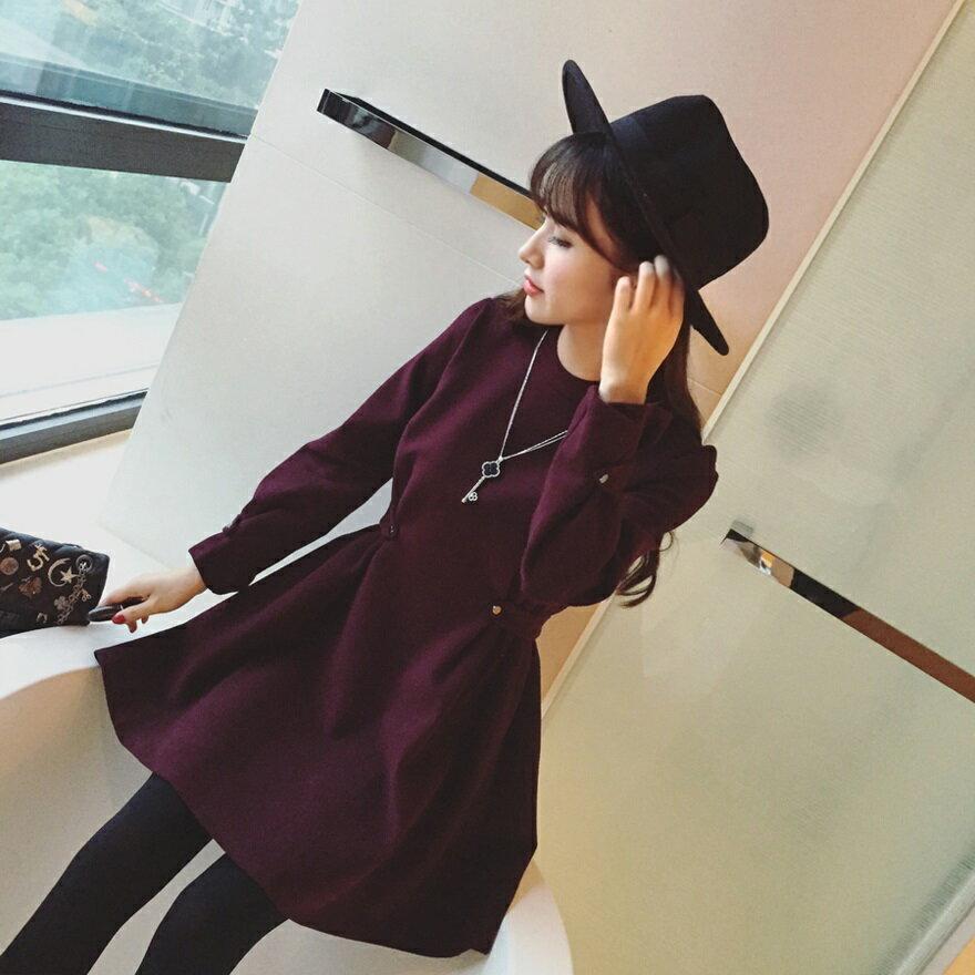 PS Mall 顯瘦羊絨毛呢料修身收腰圓領加厚長袖連身裙 洋裝~T4304~ ~  好康折