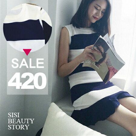 SISI~D6193~敲美浪漫荷葉圓領無袖寬條紋縮腰修身包臀荷葉波浪邊裙襬連身裙背心洋裝