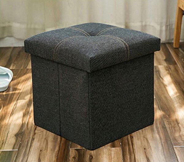 !新生活家具!《尤娜》黑色30x30牛仔摺疊木板加厚蓋玩具箱收納凳收納箱置物箱穿鞋椅雜物收納整理箱