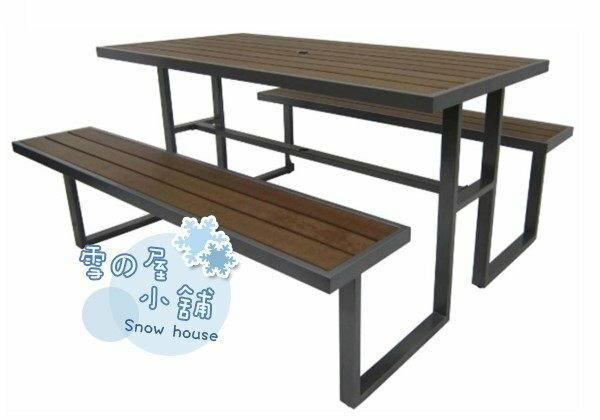 ╭☆雪之屋小舖☆╯R979-03/ S43A17 塑木野餐桌椅組(有傘孔)@戶外休閒桌椅DIY/啤酒桌椅/公園桌~原價11500