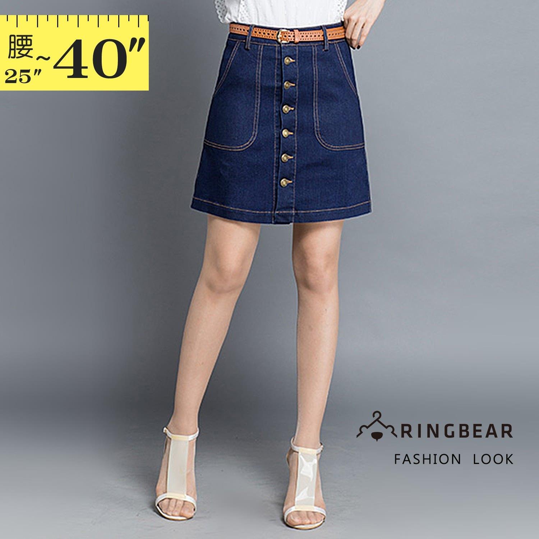 牛仔裙--時尚百搭舒適鬆緊高腰個性金屬扣口袋A字修身牛仔裙(藍XL-5L)-Q97眼圈熊中大尺碼 1