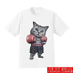 DITION 雷射印花貓咪拳擊手套短T 毛小孩 貓主子