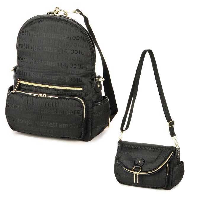 nicolettamoretti 黑色 側背 斜背 後背 可變換 包包 日本帶回正版商品